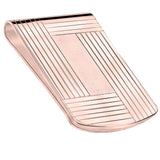Large Sterling Silver .925 Elegant Solid Stripe Design Engravable Money Clip, Designed and Made In Italy. By Sterling Manufacturers