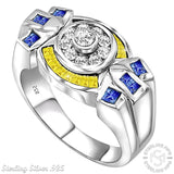 Men's Sterling Silver .925 Ring Featuring 34 Round, Square, and Baguette Azure Blue, Clear and Canary Yellow Cubic Zirconia (CZ) Stones, Platinum Plated.