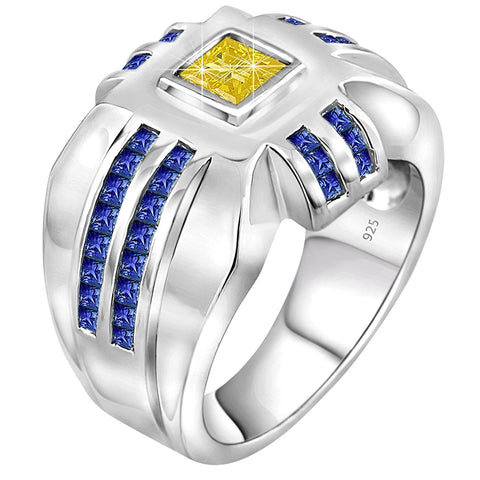 Men's .925 Sterling Silver Princess Cut Ring Featuring 45 Canary Yellow and Azure Blue Cubic Zirconia Stones, Platinum Plated. By Sterling Manufacturers