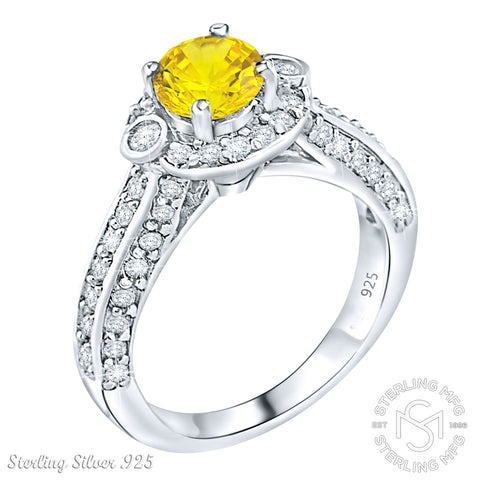 Women's Sterling Silver .925 Ring with Round Canary Yellow Center Stone Surrounded by 56 Sparkling White Cubic Zirconia (CZ) stones, Platinum Plated.