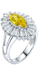 Mother's Day Gift Women's Sterling Silver .925 Ring with Yellow Marquise Center Surrounded by 21 Tapered Baguette Cubic Zirconia (CZ) stones, High Polish, Appears indentical to platinum or gold