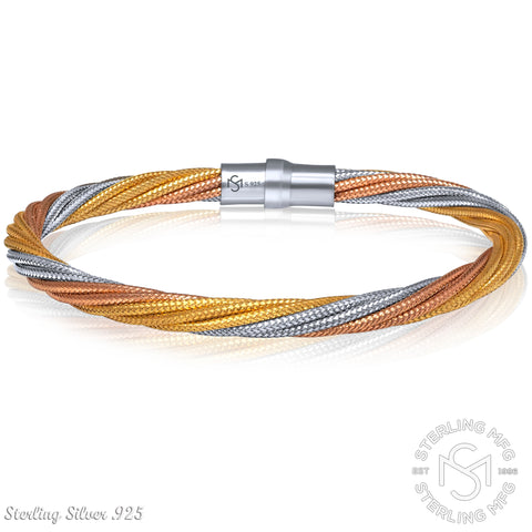 Sterling Manufacturers 925 Sterling Silver Twisted Cable Wire Bangle Magnetic Clasp Bracelet