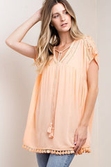 Time Flies Short Sleeve Tangerine Top - Short Sleeve Tops- Lucy and Lou Boutique - www.lucyandlou.com