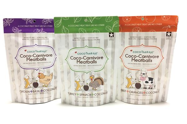 CocoTherapy Coco-Carnivore Meatballs Raw Grain Free Gluten Free Beef Chicken Turkey Dog Cat Treats-Paws & Purrs Barkery & Boutique