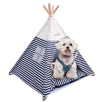 Portable Dog/Cat Teepee Tent Bed with Mat-Paws & Purrs Barkery & Boutique
