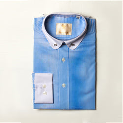 Dej Blue Striped with Contrast Curved Collar Shirt and Bar (Slim-Fit)