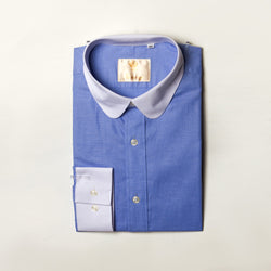 Dej Blue with Contrast Curved Collar Shirt (Slim-Fit)
