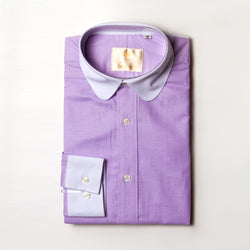 Dej Lilac Contrast Curved Collar Shirt (Slim-Fit)