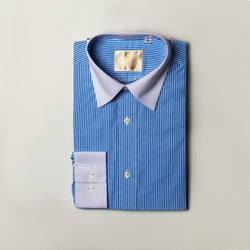 Dej Blue Striped Contrast Straight Collar Shirt (Slim-Fit)