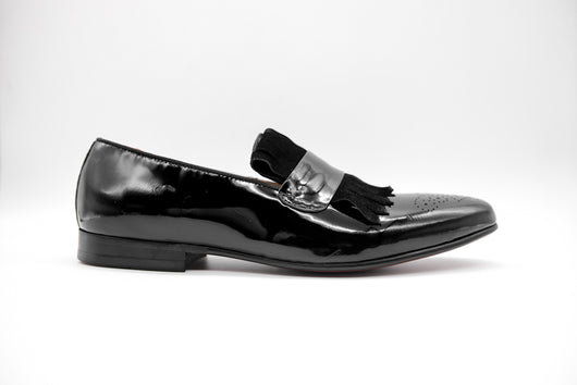 Dej Medallion Patent Fringe Loafers