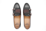 Dej Coffee Woven Double Monk Loafers