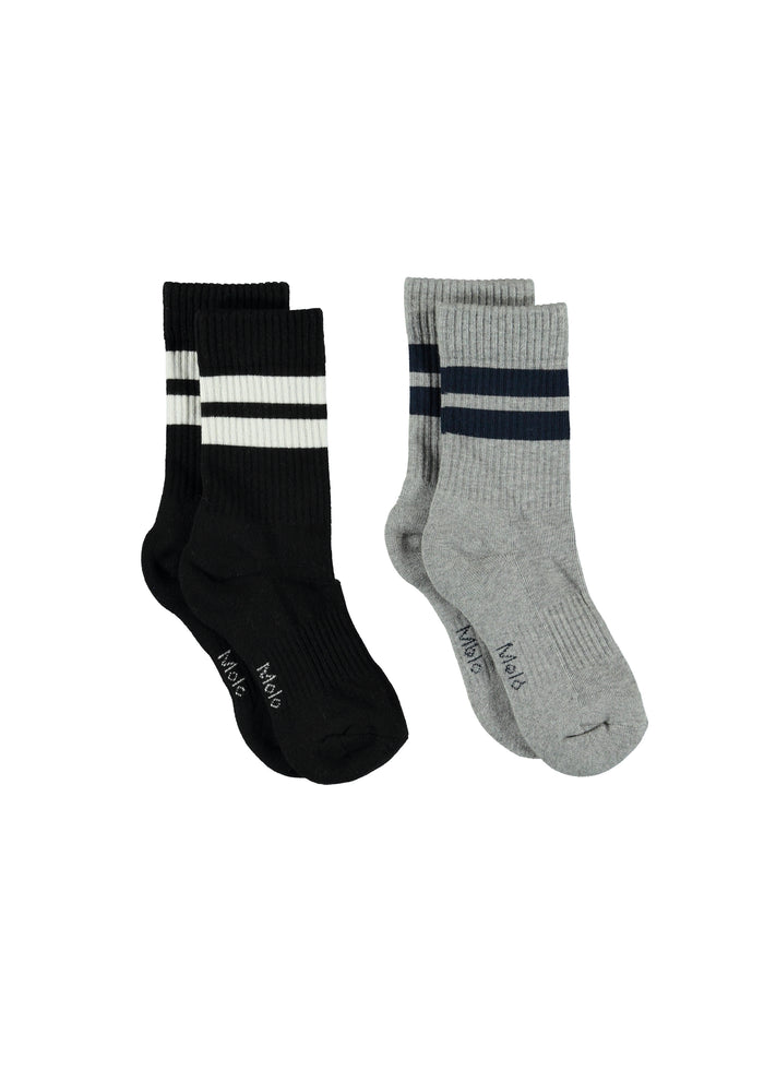 NORMAN SOCKS - 2 PACK - GREY/BLACK