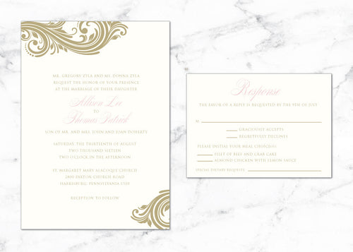 Elegant Scroll in Gold Allison Thermography WED005b