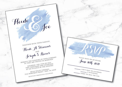 Blue Watercolor Brushed Monogram Wedding Invitation WED003