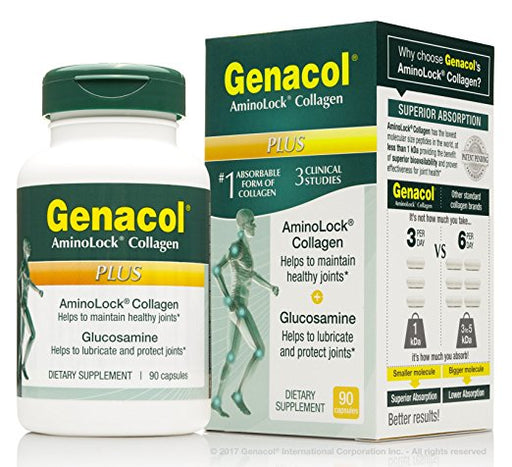 Genacol PLUS Joint Support Supplement Complex with Hydrolyzed Collagen (1200mg) and Glucosamine (1500mg) for Back, Knees & Hands Joint Comfort and Joint flexibility