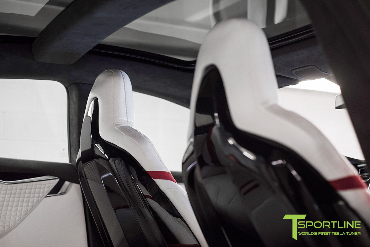 Project Snow Tiger - Model S (2012-2016) - Custom White and Red Alcantara Interior - Piano Black Trim by T Sportline 3