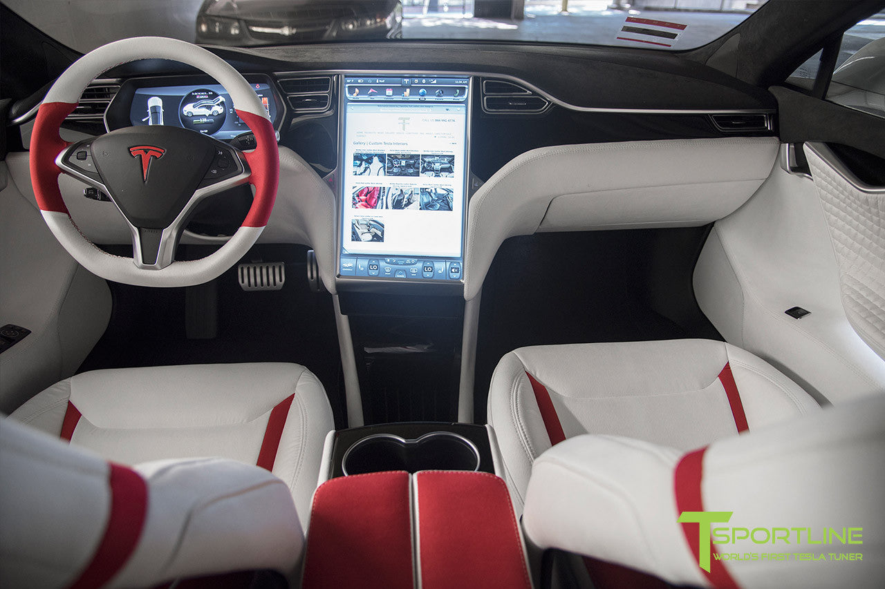 Project Snow Tiger - Model S (2012-2016) - Custom White and Red Alcantara Interior - Piano Black Trim by T Sportline 14