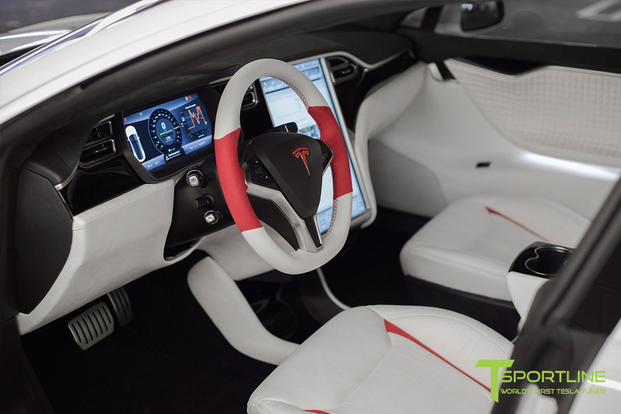 Project Snow Tiger - Model S (2012-2016) - Custom White and Red Alcantara Interior - Piano Black Trim by T Sportline 10