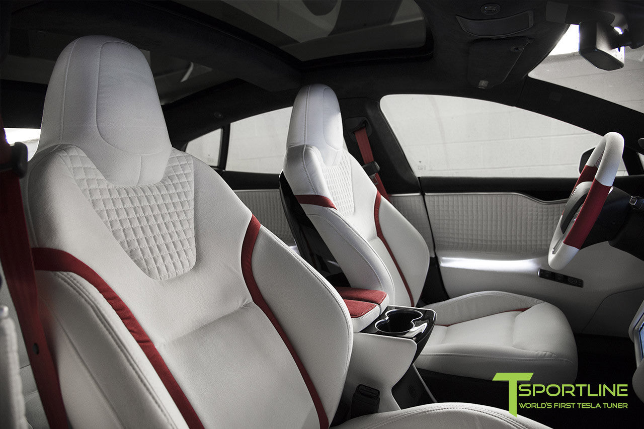 Project Snow Tiger - Model S (2012-2016) - Custom White and Red Alcantara Interior - Piano Black Trim by T Sportline 9
