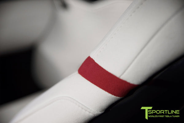 Project Snow Tiger - Model S (2012-2016) - Custom White and Red Alcantara Interior - Piano Black Trim by T Sportline 8