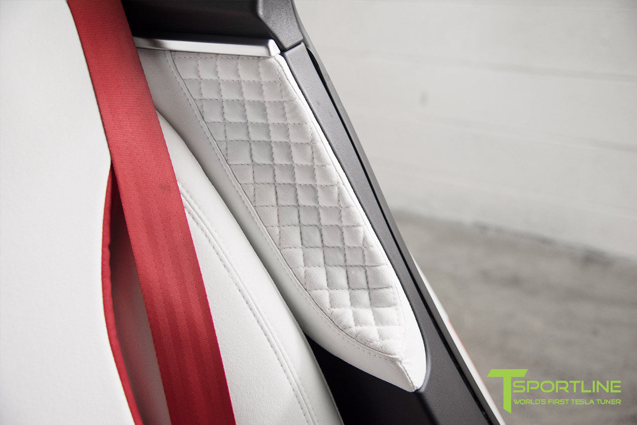 Project Snow Tiger - Model S (2012-2016) - Custom White and Red Alcantara Interior - Piano Black Trim by T Sportline 7