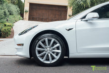 "Pearl White Tesla Model 3 with Brilliant Silver 18"" TST Turbine Style Wheels by T Sportline"