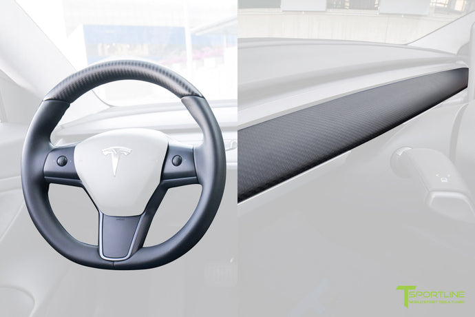 Tesla Model 3 Matte Carbon Fiber Interior Trim Kit (Steering Wheel + Dash Panel)