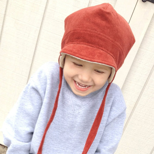Boy Trapper Hat with Straps // Rust Red