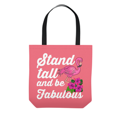 Flamingo Tote Bag Stand Tall Be Fabulous Tropical Beach Summer
