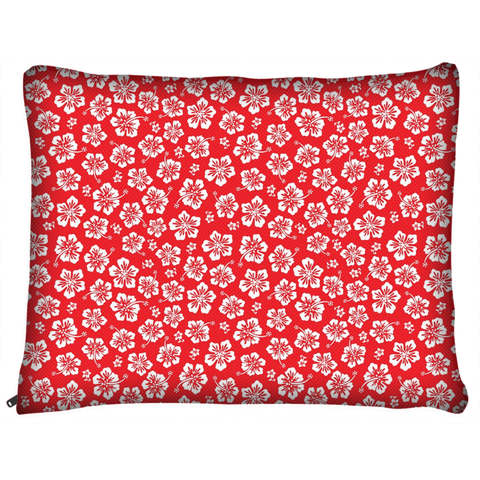Hawaiian Hibiscus Red Dog Bed
