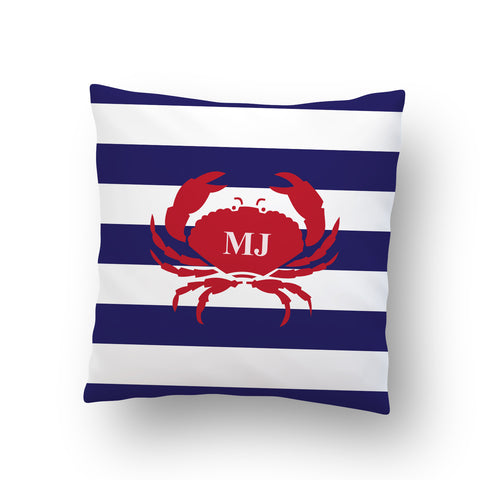 Nautical Crab Stripe Indoor Throw Pillow Cover