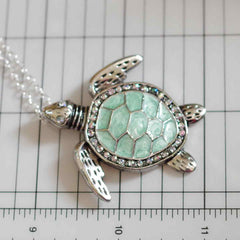 Sea Turtle Enamel Pendant Necklace