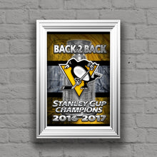 Pittsburgh Penguins Back 2 Back Stanley Cup Championship Poster, Pittsburgh Penguins Hockey Gift, Pens Art, Penguins