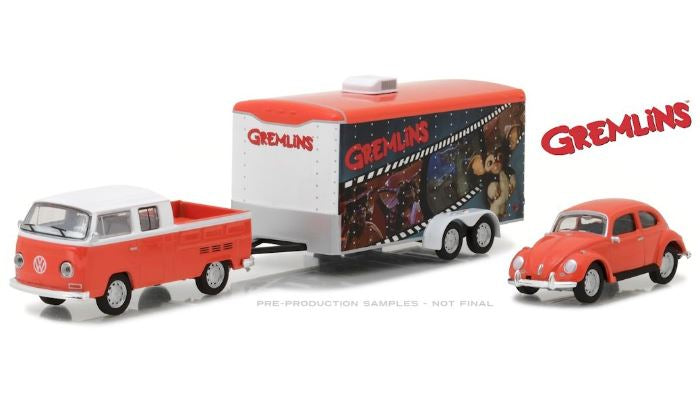 Gremlins 1972 VW T2 Double Cab Pickup with 1967 VW Beetle Car & Hauler, 1:64 Diecast Vehicle