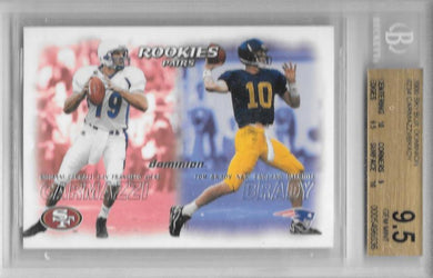 Tom Brady & Carmazzi, RC, 2000 Skybox Dominion NFL, BGS 9.5