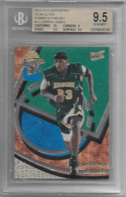 Lebron James, Power in the Key, 2013-14 Fleer Retro, BGS 9.5