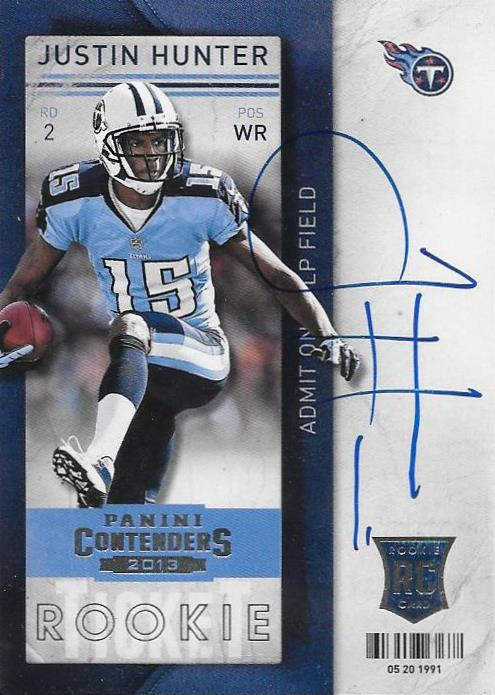 Justin Hunter, Rookie Ticket Autograph, 2013 Panini Contenders NFL