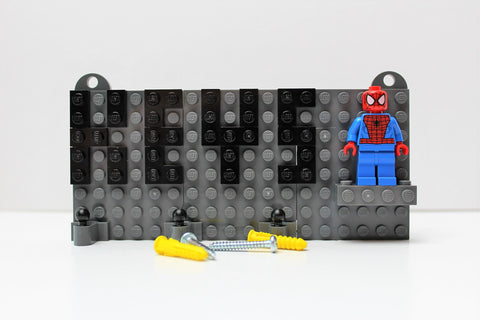 Grey Toy Brick Key Organizer with Black Letters and a Spider-Man Minifigure