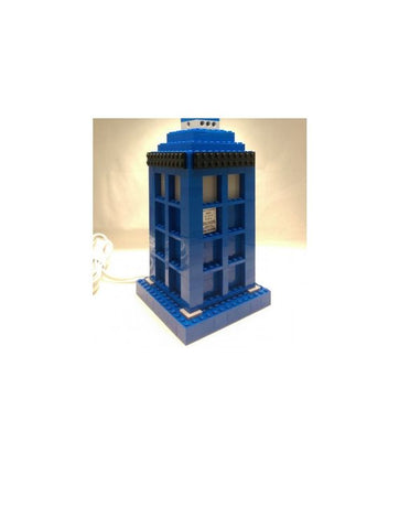 Downloadable Instructions for Building a Doctor Who TARDIS Lamp with Toy Bricks