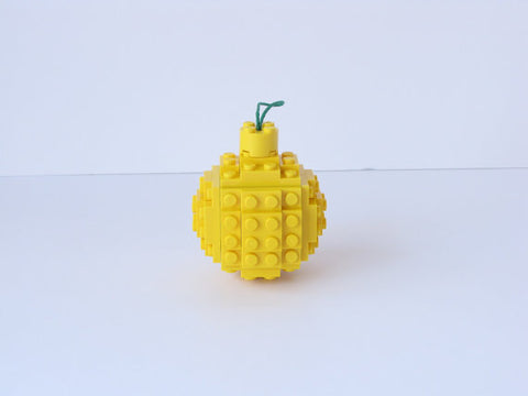 Sphere Christmas Ornament - Yellow (Made with real Toy Bricks)