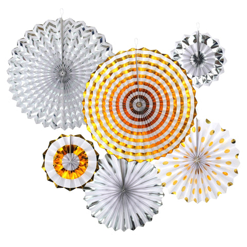 Set of 6 Gold & Silver Eid & Ramadan Hanging Concertina Fan Decorations