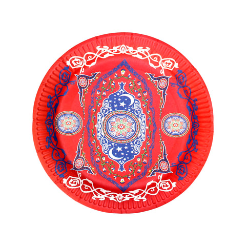 Red Ornate Floral Eid Party Paper Plates (10 Pack)