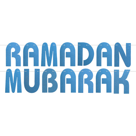 Blue Glitter Letter Ramadan Mubarak Hanging Bunting Decoration - 2 meters