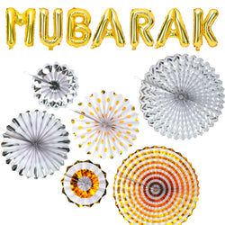 Gold Mubarak Foil Balloons + Set of 6 Gold & Silver Concertina Fan Decorations
