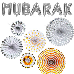 Silver Mubarak Foil Balloons + Set of 6 Gold & Silver Concertina Fan Decorations