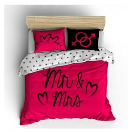 "Copripiumino matrimoniale ""MR AND MRS HOT PINK"""