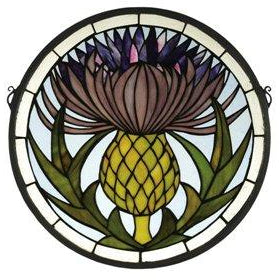 Thistle Medallion Stained Glass Window- Free Shipping