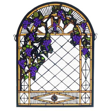 Grape Diamond Trellis Stained Glass Window- Free Shipping