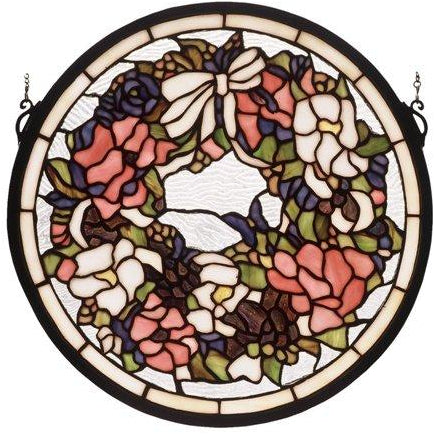 Revival Wreath & Garland Medallion Stained Glass Window- Free Shipping