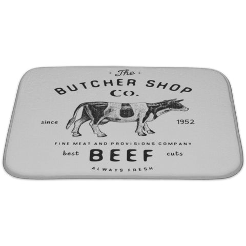 Butcher Shop Vintage Emblem Beef Meat Products Butchery Logo Template Retro Bath Rug Mat - Free Shipping